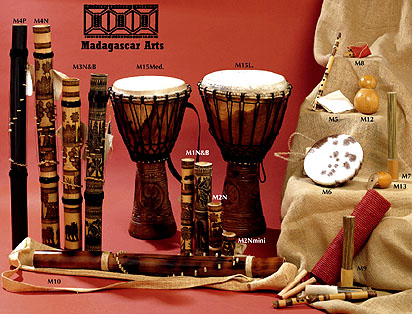group photo of musical instruments from Madagascar