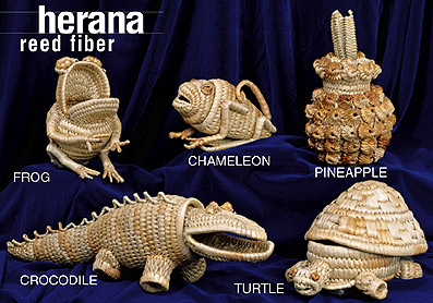 reed fiber animal baskets line